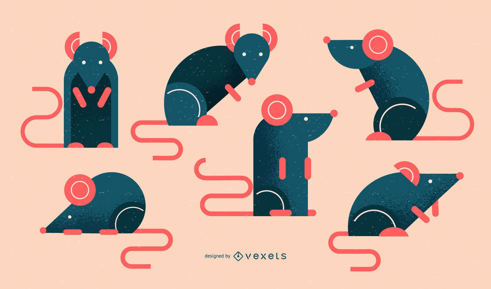 Geometric rat illustration set