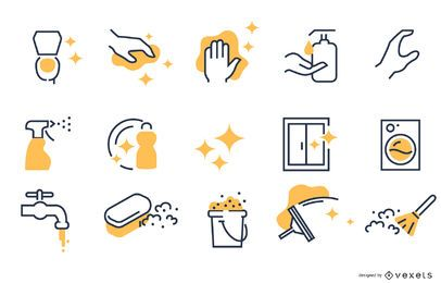 Cleaning stroke icon collection