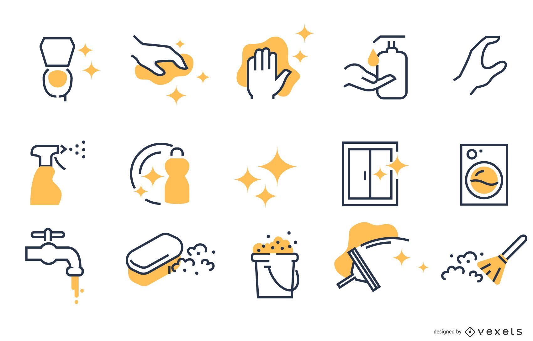 Colección de iconos de trazo de limpieza