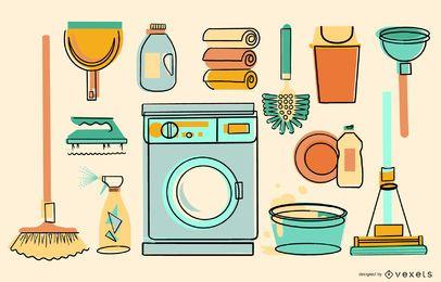Coleção colorida de limpeza