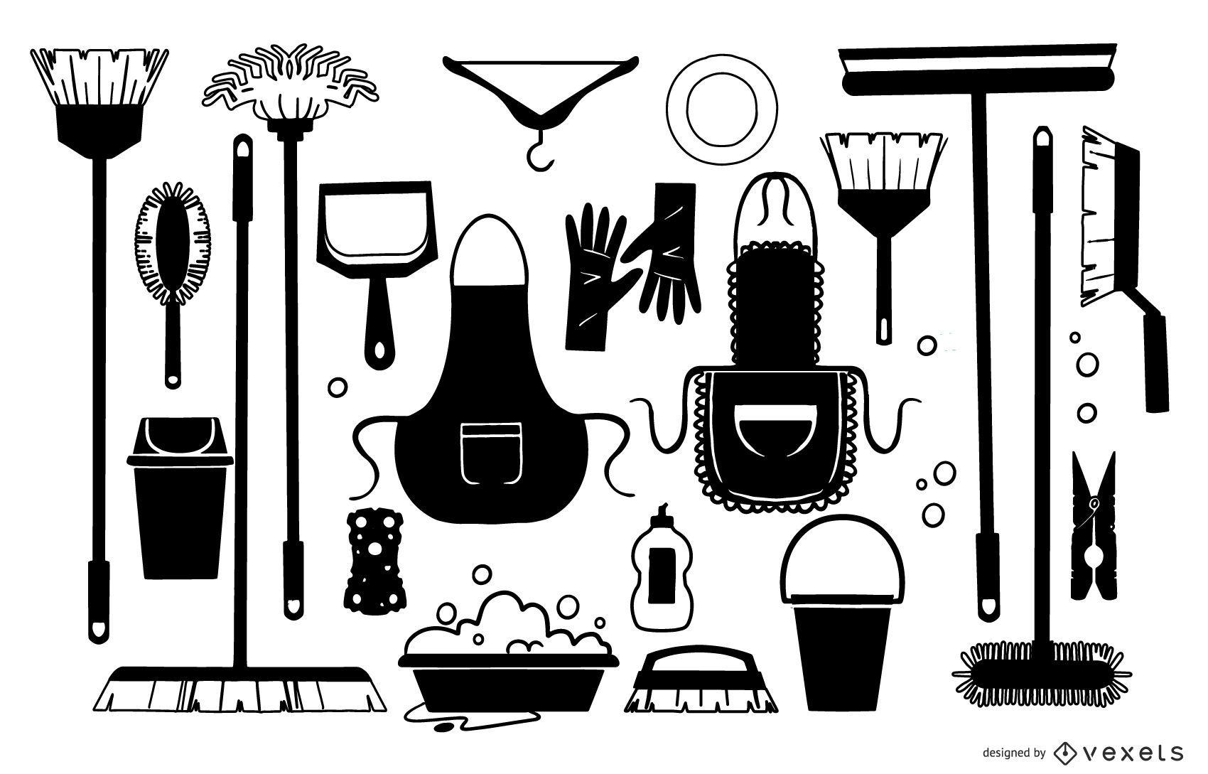 Coleção preta de elementos de limpeza