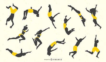 Coleção de silhuetas de pessoas que pulam penhascos