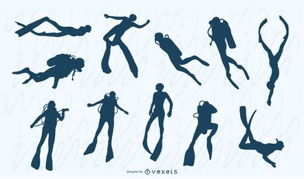 Conjunto de silhueta de pessoas de mergulho