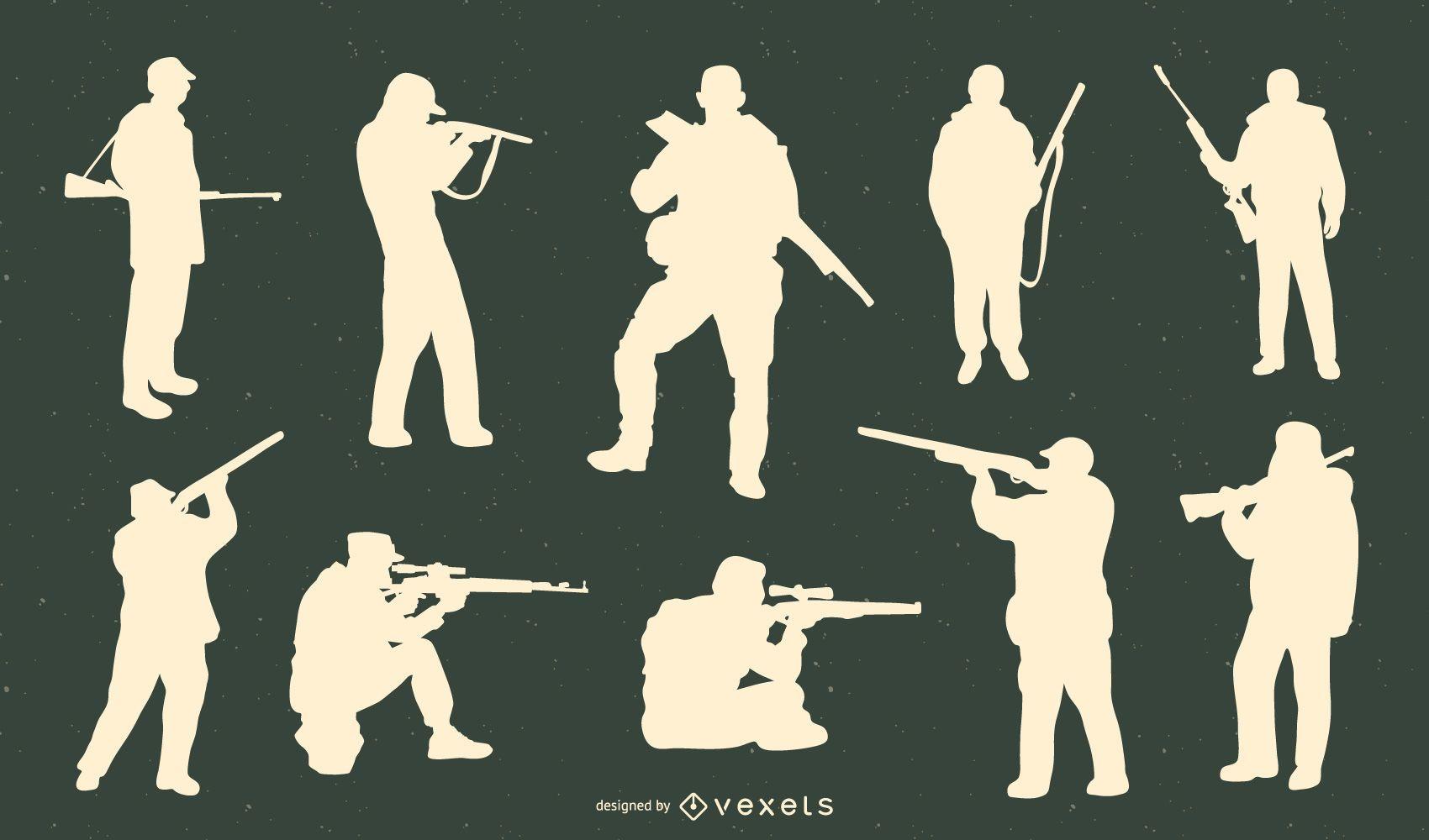 Cazador con paquete de silueta de pistola