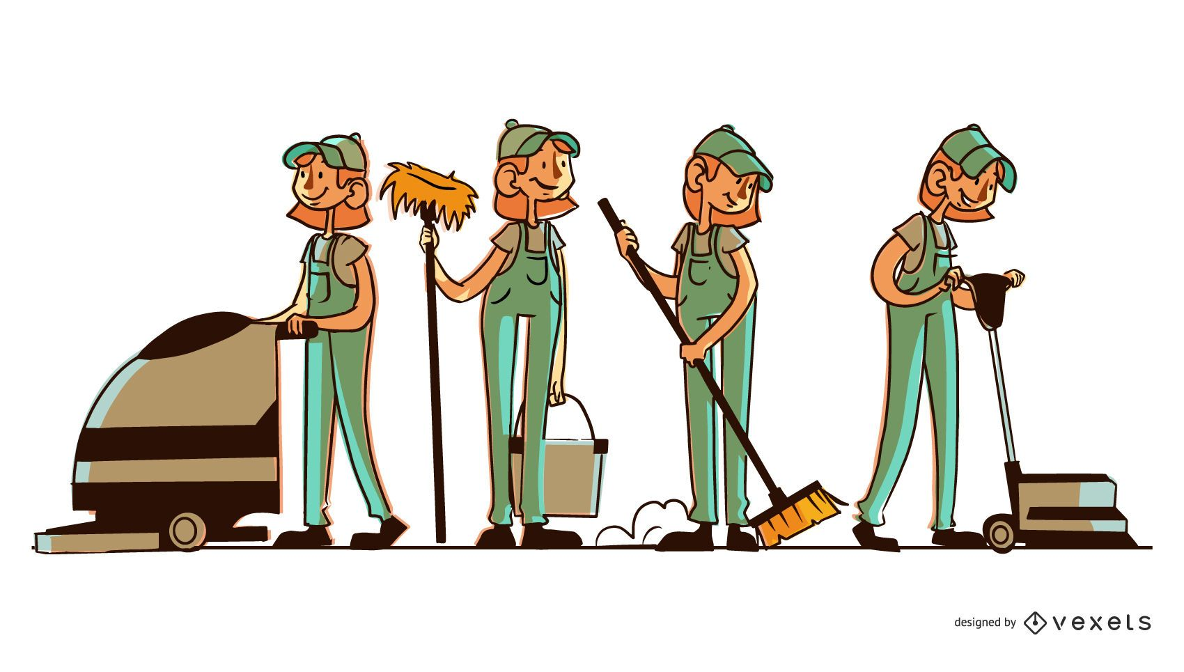 Cleaning woman character set