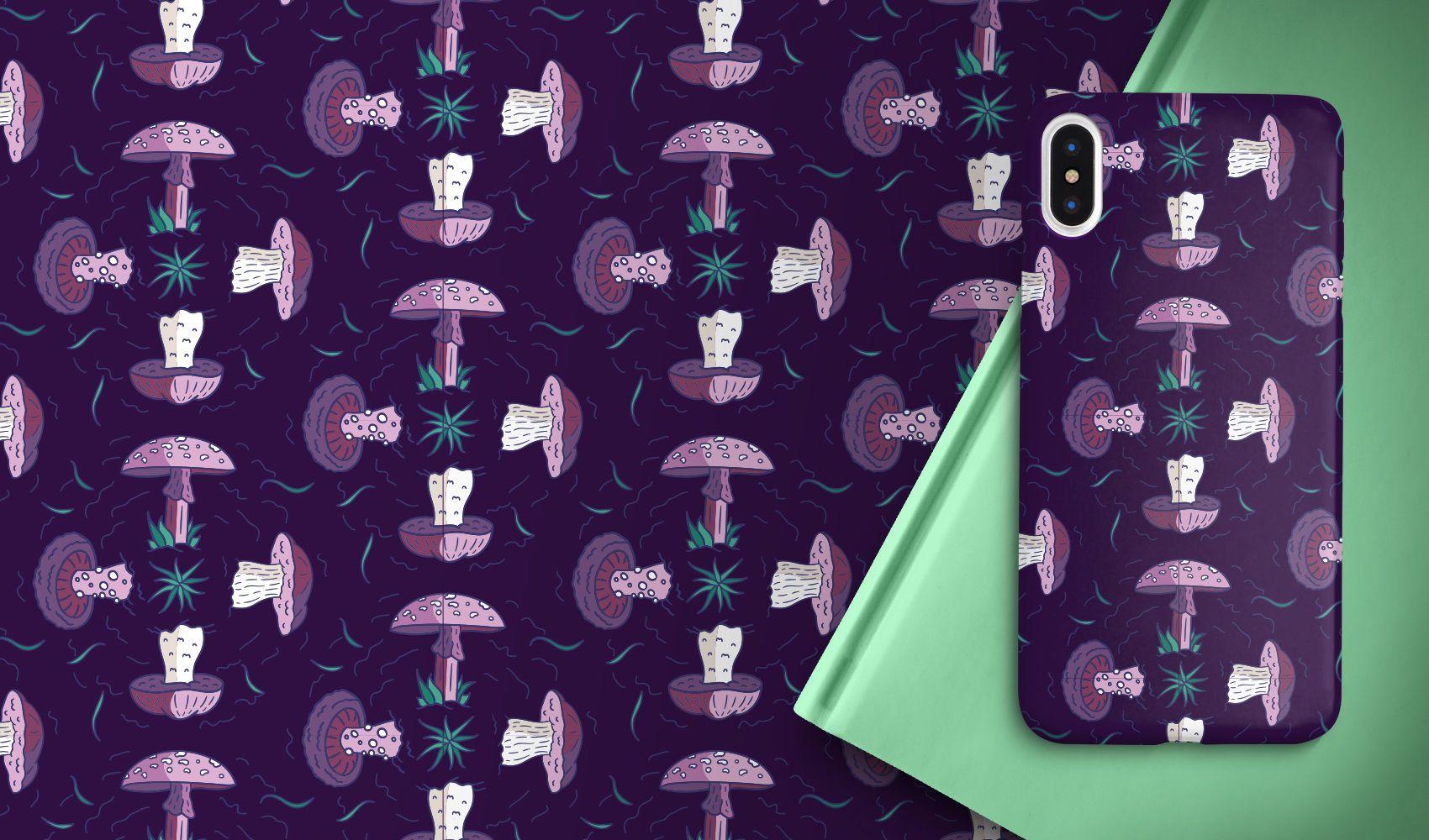 Purple mushrooms pattern design