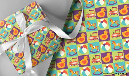 Colorful kids toys pattern design