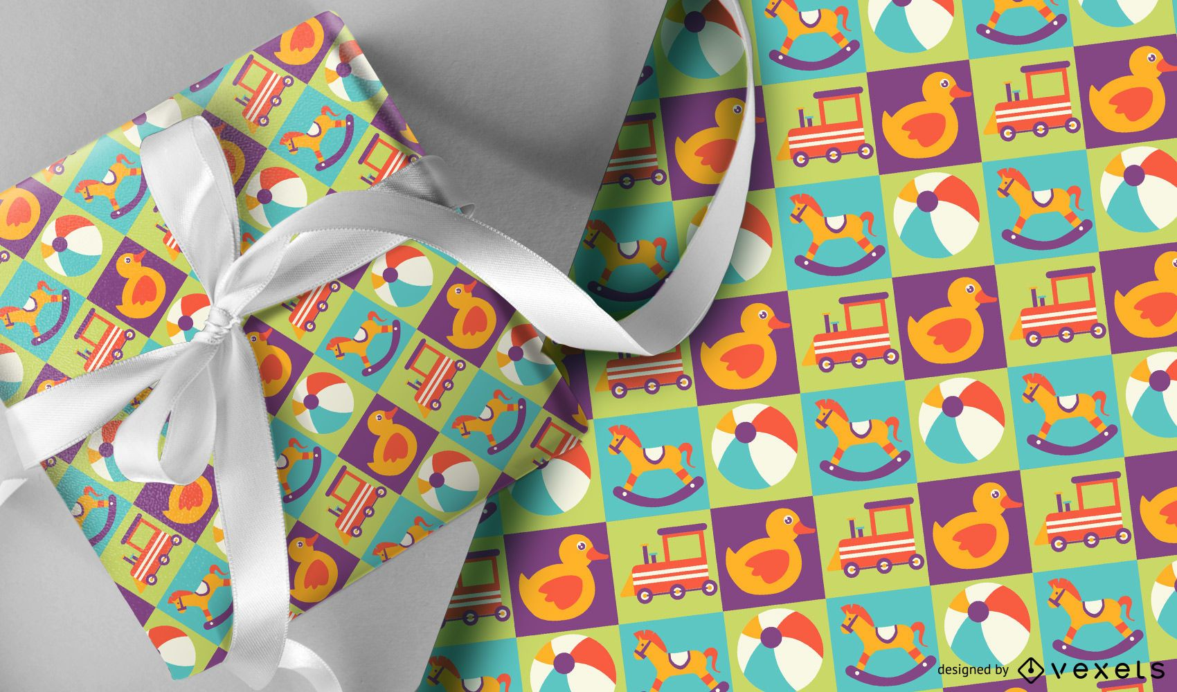 Colorful kids toys pattern design