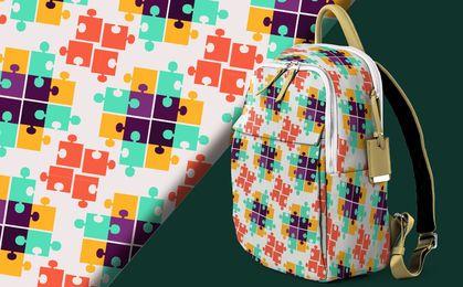 Design de padrão de quebra-cabeça colorido