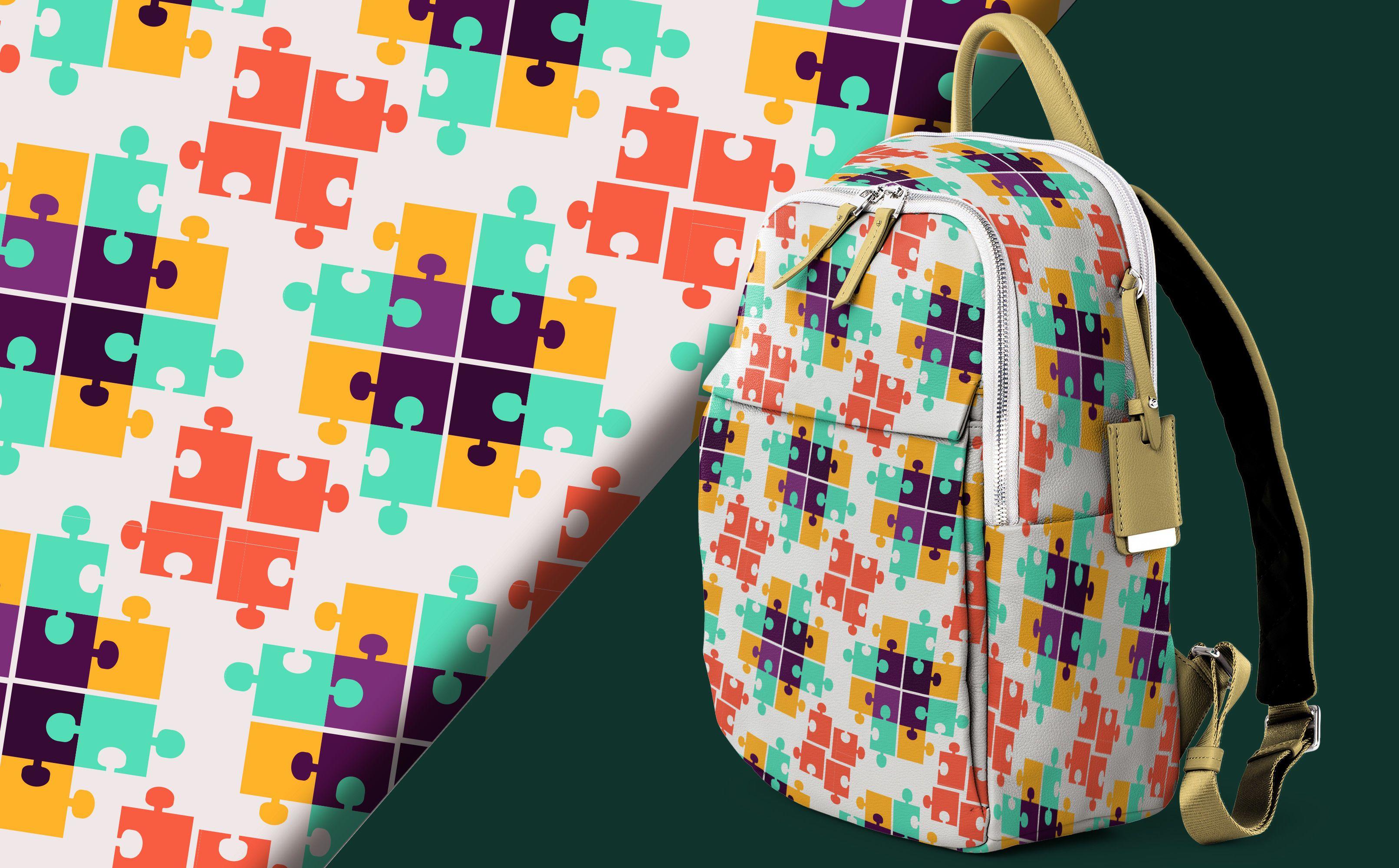 Desenho de padrão de quebra-cabeça colorido