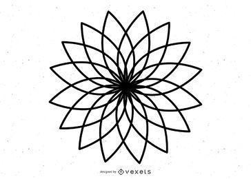 Desenho de flores de arte em linha