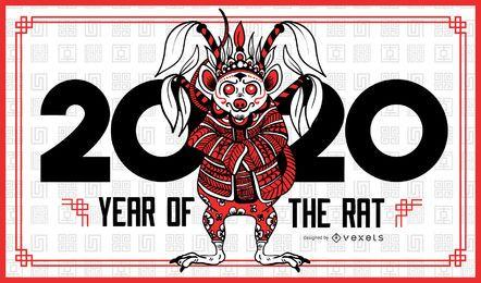 Jahr der Ratte 2020 Banner Vorlage