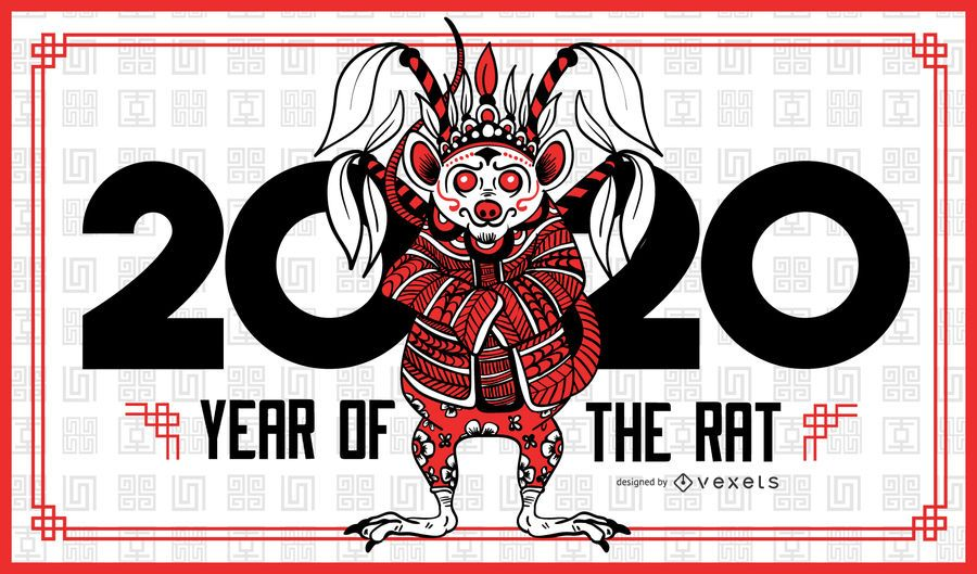 Year of the rat 2020 banner template
