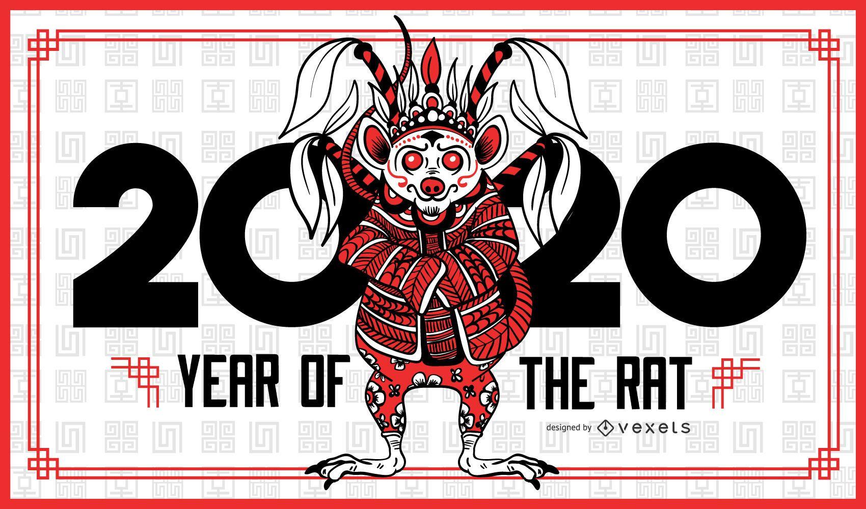 Plantilla de banner de a?o de la rata 2020