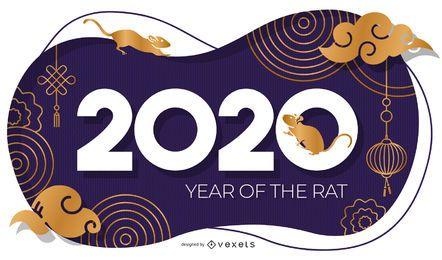 Jahr des abstrakten Banners der Ratte 2020