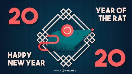 Año chino de la bandera de la rata