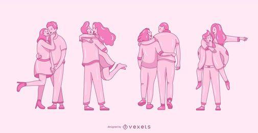 Valentinstag flache Paare festgelegt