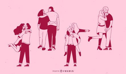 Conjunto de parejas de derrame cerebral de San Valentín