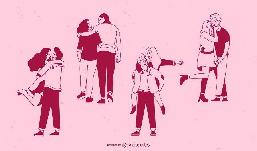Valentine's day stroke couples set