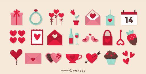 Colección de elementos planos del día de San Valentín