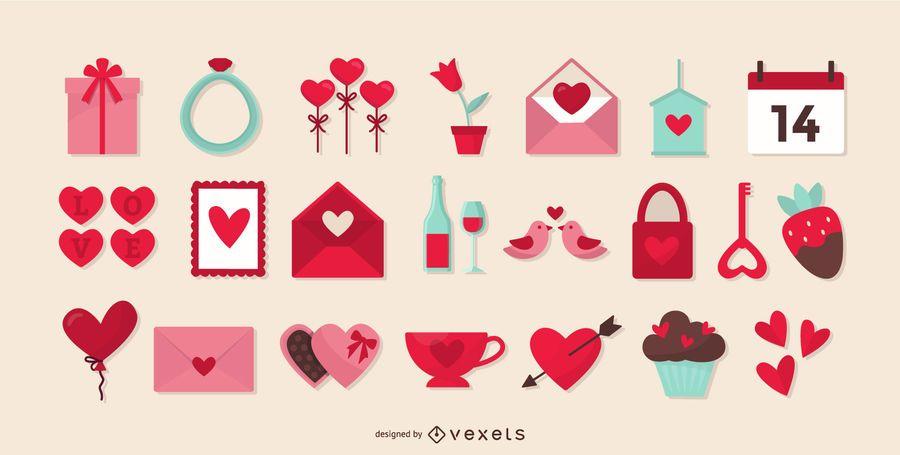 Coleção de elementos plana de dia dos namorados