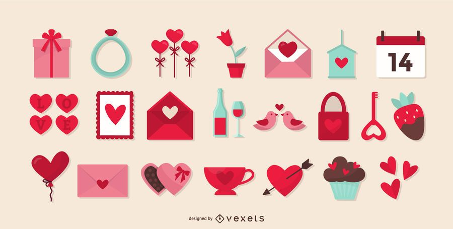 Valentines day flat elements collection