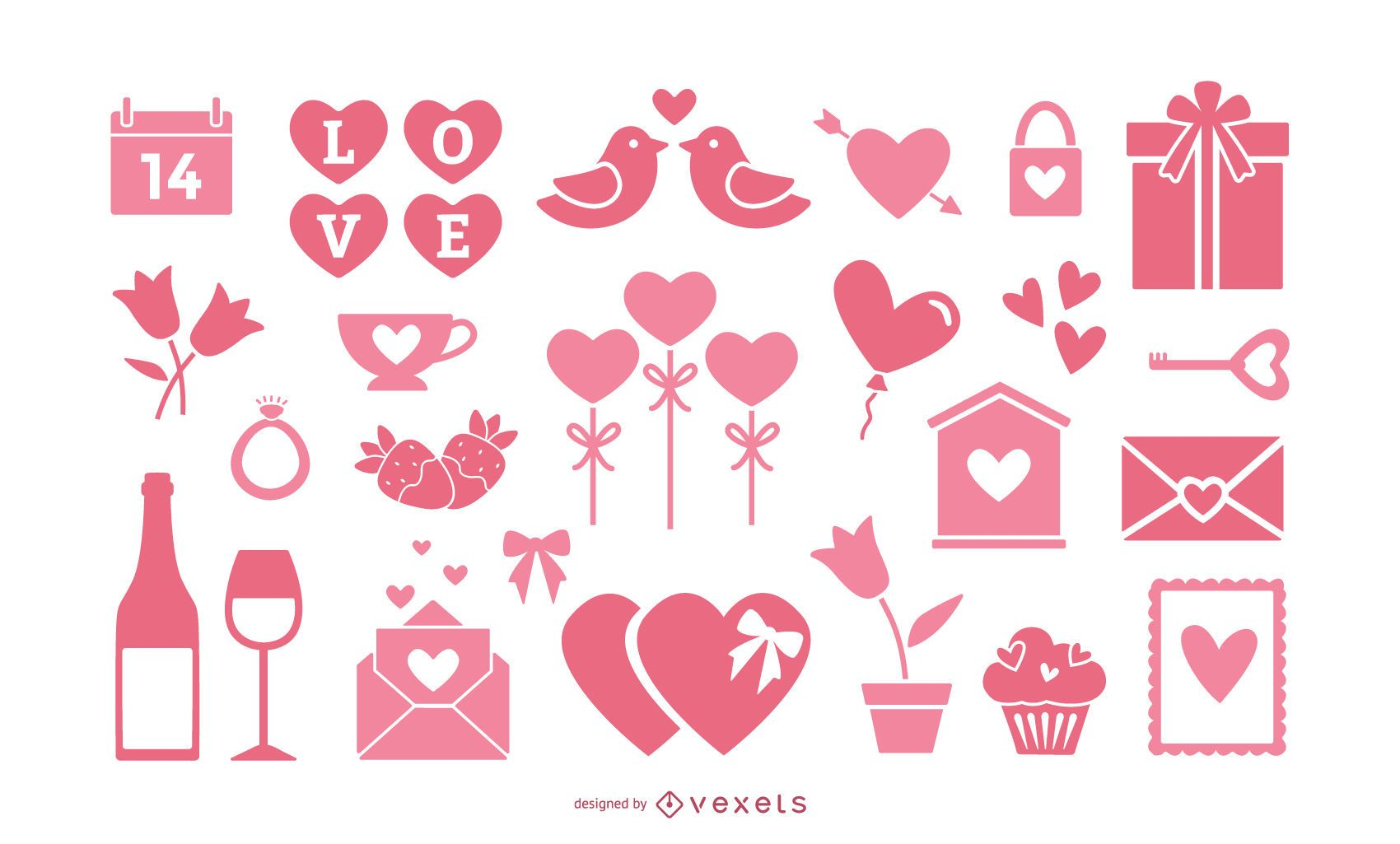 Colección de elementos rosas de san valentín