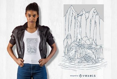Diseño de camiseta cascada dibujada a mano