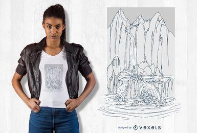 Hand gezeichnete Wasserfall-T-Shirt Design