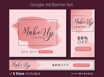 Conjunto de banner de anúncio de maquiagem