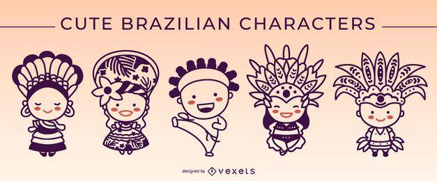 Cute brazilian characters stroke set