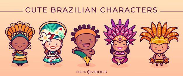 Conjunto de lindos personajes brasileños