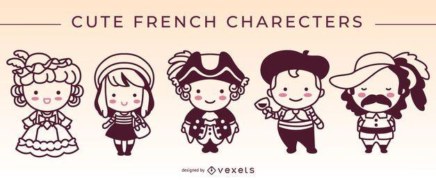 Conjunto de trazos lindos personajes franceses