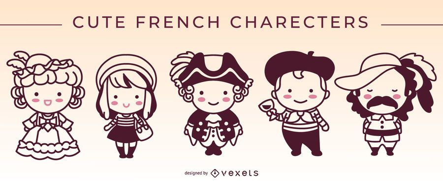 Cute french characters stroke set
