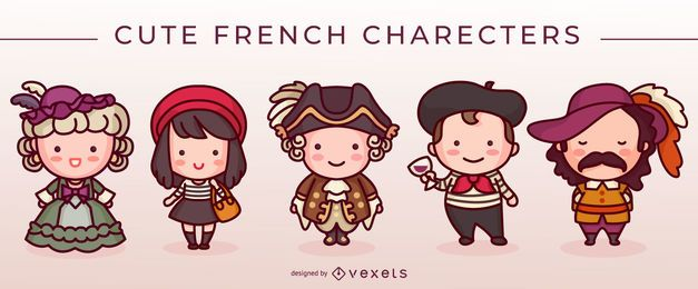 Conjunto de lindos personajes franceses