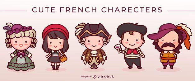 Süße französische Zeichen gesetzt