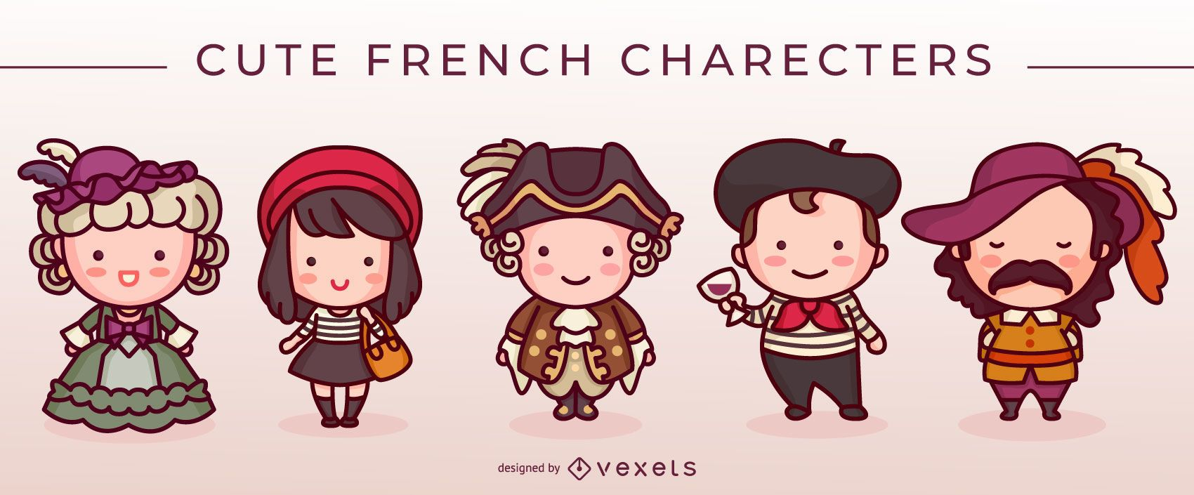 Cute french characters set