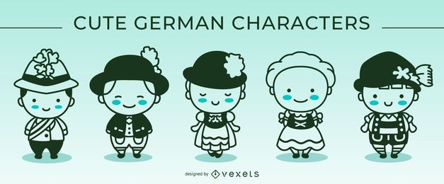 Cute german stroke characters set