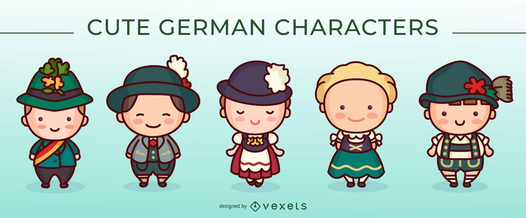 Cute german characters set