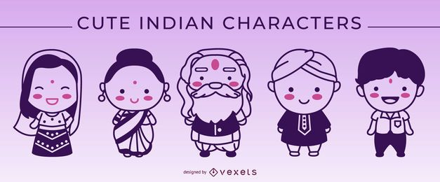 Cute indian stroke characters set