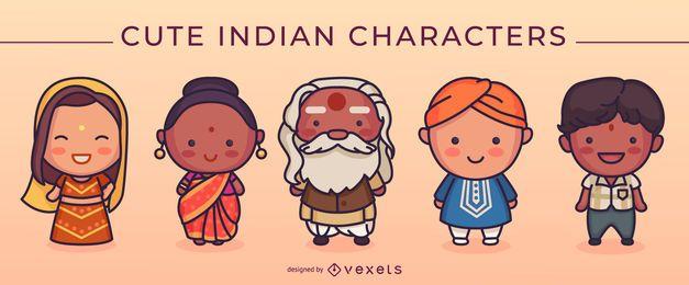 Conjunto de personagens indianos fofos