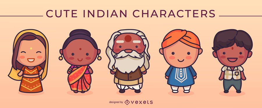 Cute indian characters set