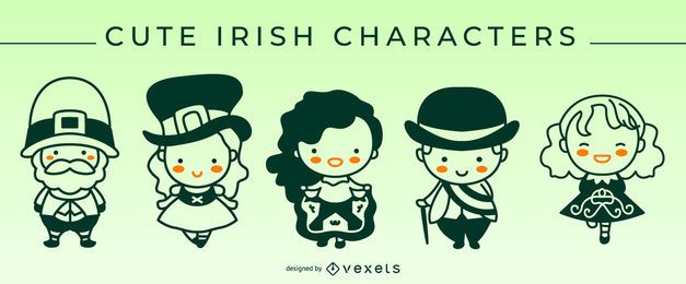 Cute irish stroke characters set