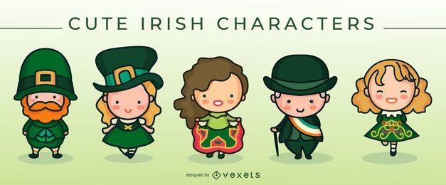 Conjunto de lindos personajes irlandeses