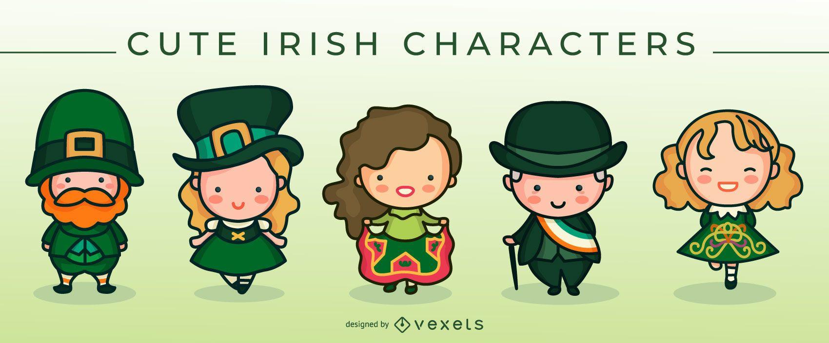 Cute irish characters set