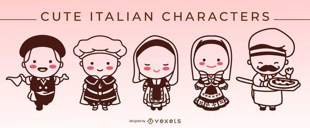 Conjunto de caracteres lindos trazo italiano