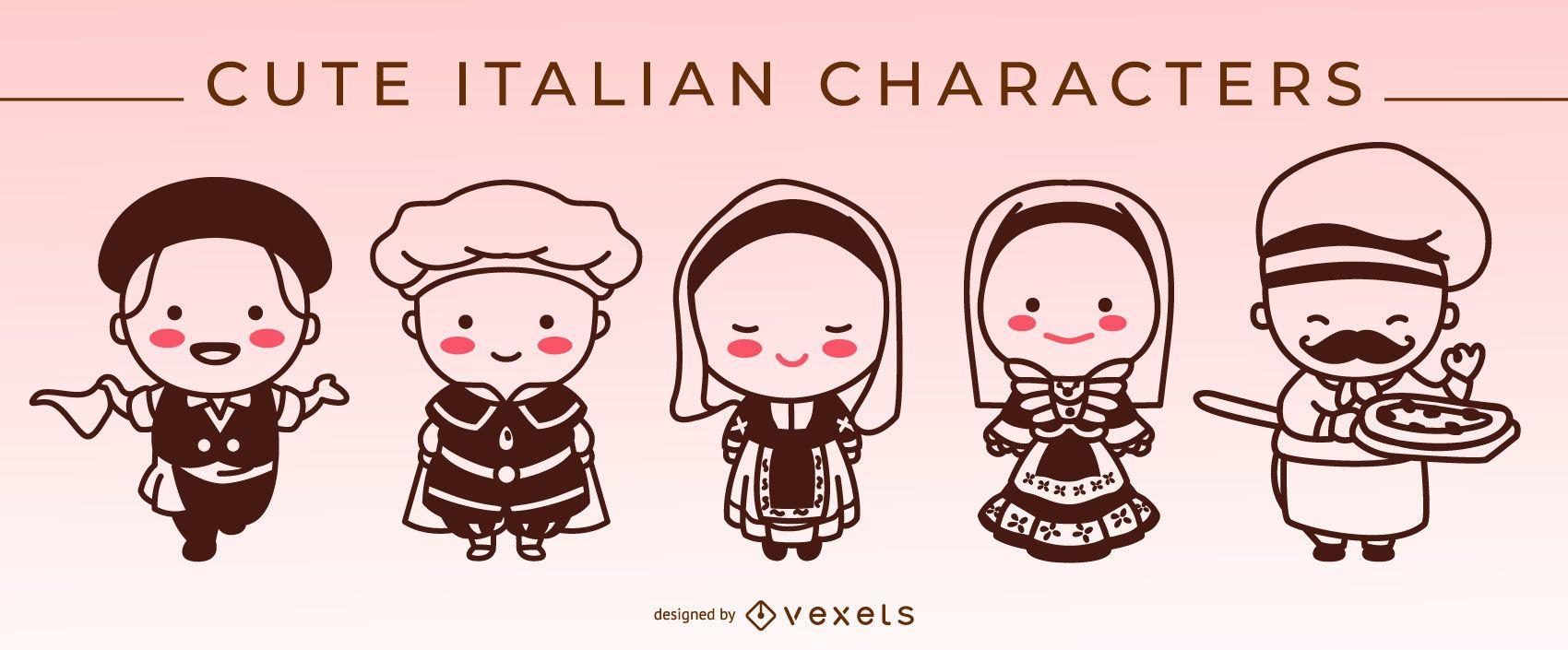 Cute italian stroke characters set