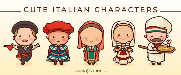 Conjunto de lindos personajes italianos