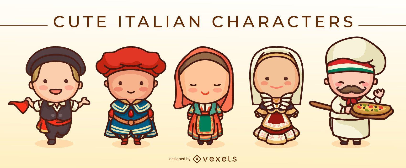 Conjunto de personagens italianos fofos