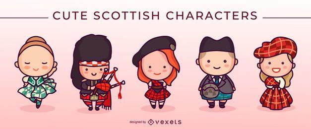 Conjunto de lindos personajes escoceses